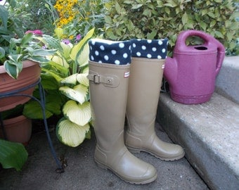 Fleece Rain Boot Liners, Black and White Polka Dot Cuff w/White Sock, Autumn,Rainy Days, Gardening, Gift under 25,  Med/Lg 9-11 Boot