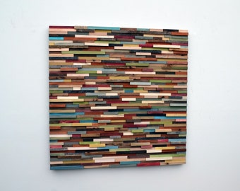 Abstract Painting on Wood - Reclaimed Wood Art Sculpture - Modern Wall Art