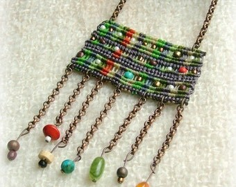 Free spirit macrame beaded necklace