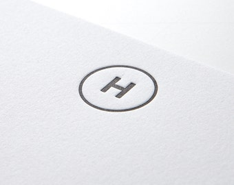 Circle Initial, personalized letterpress stationery, set of 25