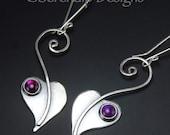 Lilac Leaf Heart Earrings with Purple Paua, Abalone Sterling Silver Leaves, Shiny Silver Dangle Leaf Earrings
