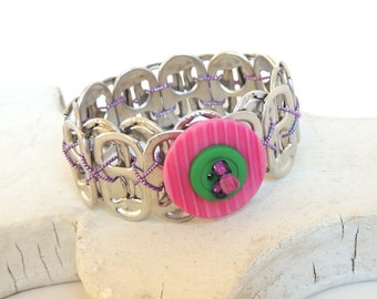 BUTTON BRACELET - Soda Tab Bracelet - pink/green/purple - for girls, teens, and women - eco-friendly/recycled jewelry - under 10.00