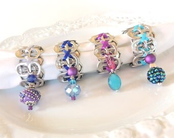 Beaded NAPKIN RINGS - purple, silver, turquoise, cobalt blue  - Set of 4 - upcycled/recycled - gifts under 20.00