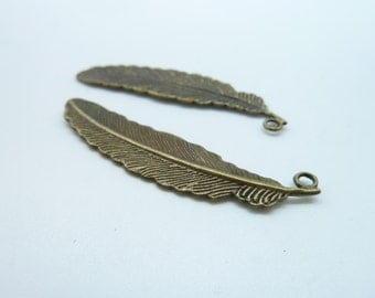 10pcs 11x51mm Antique Bronze  Feather Charm Pendant C2716