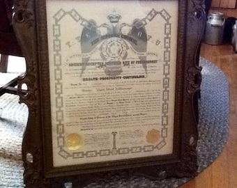 Masonic Certificate 1954 Lehigh PA Framed Rare SALE
