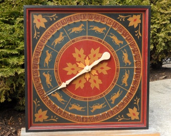 "19"", Roulette, Wheel of Chance, Game Board, Wood, Hand Painted, Wooden, Game Boards, Folk Art, Primitive"