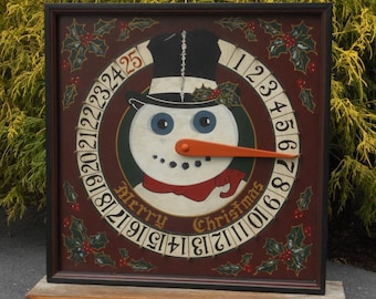 """19"""", Snowman, Advent, Calendar, Game Board, Wood, Hand Painted, Folk Art, Primitive, Count Down, Christmas, Game Boards"""