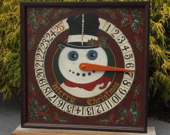 Snowman Advent Calendar - Christmas Advent Calendar - Primitive Snowman - Folk Art Snowman
