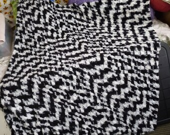 Black and White Blanket Afghan CLEARANCE