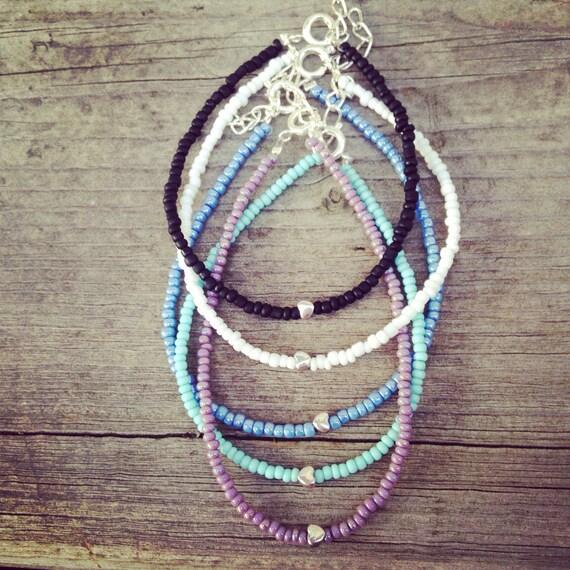 White dainty heart bracelet, white bracelet, dainty heart bracelet, tiny heart bracelet, silver heart bracelet, friendship bracelet