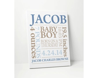 CANVAS PRINT: Baby Boy Gift Personalized Nursery Art with Baby Name Birthdate in Blue Khaki or Customize Wall Decor