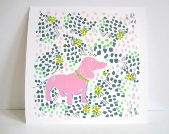 Pink Dachshund In A Floral Garden - Sausage Dog Illustration - Dachshund Portrait - Pastel Floral - 10 x 10 inches - Floral Illustration