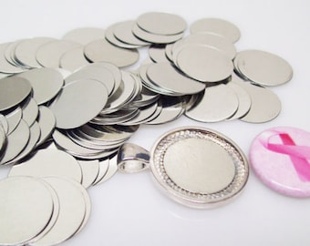 "Steel Metal Discs 3/4"" 19mm for use to make Magnetic Pendants - Choose Quantity When You Check Out"