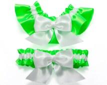 Garter set - garters in neon green and white satin with white satin bows - Simply Satin Garters