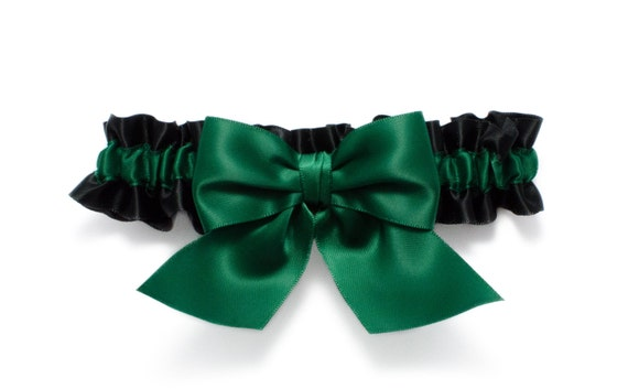 Garter single - garter in black and emerald green satin with an emerald green satin bow - Simply Satin Garter