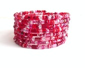 Reserved: Red Pink Seed Bead Wrap Bracelet multi layer Sunset