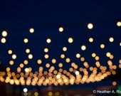Night Lights, yellow, blue, blurry, gold, circles, abstract, navy