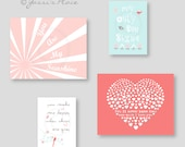 Baby Girl Nursery art - You Are My Sunshine - Coral Nursery Decor - Coral, Pink, Aqua and Gray, flowers bird, heart - kids art - ESRCAG -002
