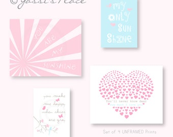 Pink and Blue Baby Girl Nursery Decor, You Are My Sunshine, Set of 4 prints, Kids wall art in Pink Blue and Gray - YassisPlace ESBPG-005 050