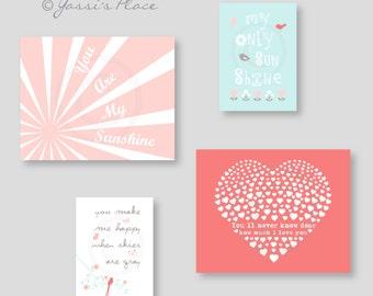 Baby Girl Nursery art - You Are My Sunshine - Coral Nursery Decor - Coral, Pink, Aqua and Gray, flowers bird, heart - kids art - ESRCAG -002