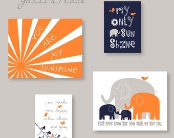 Boy Decor You Are My Sunshine Orange Navy and Gray Nursery Art - Brothers elephant Wall Art - YassisPlace, Frames NOT included! ES3EON-001