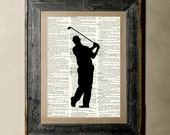 Buy 1 get 1 Free - Golfer(Version 1)Printed on a Vintage Dictionary, 8X10, dictionary art, paper art, illustration art, collage