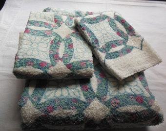 Floral Wreath Pattern Towel Set, 3 PC By J C Pennys, Old Stock