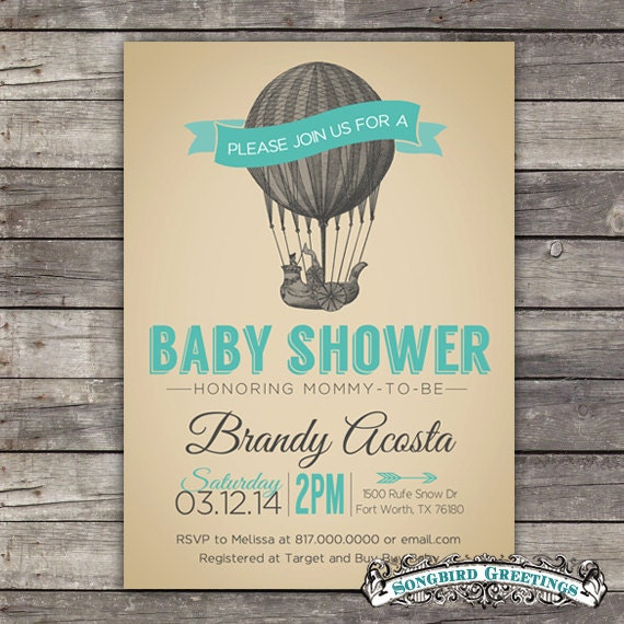 Items Similar To Hot Air Balloon Baby Shower Invitation  Customizable On  Etsy