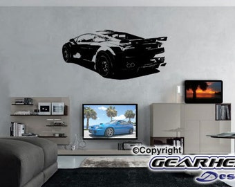 Lamborghini 2 Wall Sticker, Man Cave, Man Cave Sticker, Automotive Sticker, Race Car, Gift for Guy, Wall Decal,