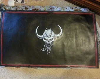 Made to Order Leather Trading Card Game Playmat. Standard Magic the Gathering size of 14x24 inches. You choose color and design!