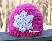 PATTERN: Snowflake Beanie Crochet Hat, Crochet Winter Cap, Girls and Teens Beanie Pattern, Crochet Baby Hat, Womens Beanie Pattern