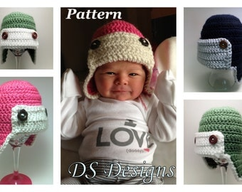 PATTERN: Crochet Earflap Bomber or Aviator Hat, Crochet Winter Hat Pattern, Boys Pilot Hat Pattern, Crochet Girls Hat Pattern, Hat Pattern