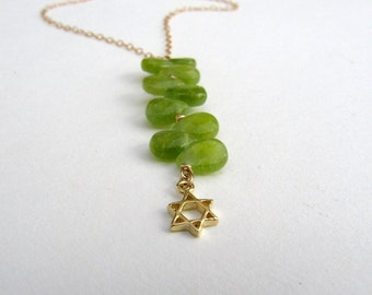 Kelly Green Necklace. Gold long necklace. Long pendant necklace. Green long necklace. Star of david necklace.