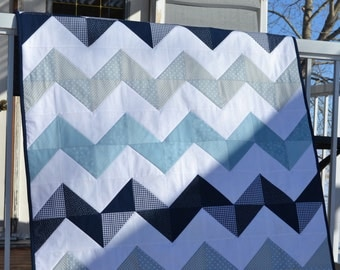 Chevron Baby Quilt in your choice of Nursery Colors, Custom Baby Bedding, Minkee Baby Blanket, Made to Order, baby shower gift