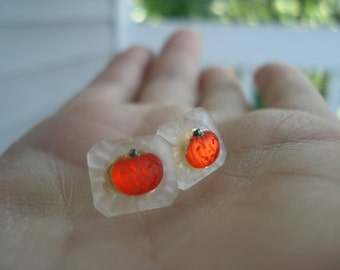 Vintage Luminous Glass Cabochons Lalique Inspired Stud Pierced Earrings