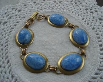 Clouds in a Big Blue Sky Vintage Glass Gold Bracelet Woodland Nature Inspired