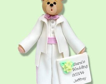 Belly Bear GROOMSMAN - HANDMADE Polymer Clay Personalized WEDDING Ornament