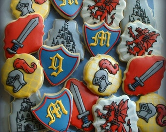 Knight cookies - Medieval Decorated cookies - Dragon, Sword, Shield, Castle Cookies - Birthday cookie favors - Personalized cookies -1 dozen