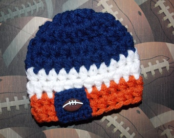Denver Broncos, Chicago Bears, or Auburn Tigers inspired baby hat - newborn size - made to order - team sports