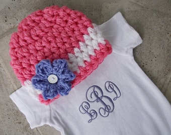 Chunky hat and bodysuit set for girls - bringing baby home outfit - made to order