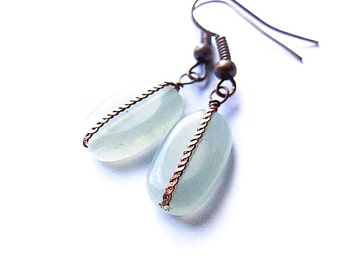 SALE Simple Aquamarine Earrings - Delicate Rustic Pale Green Earrings