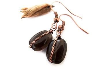 SALE Smoky Quartz Earrings, Gemstone Brown Coffee Earrings, Smoky Quartz Dangle Earrings