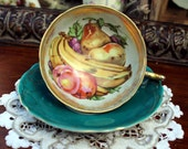 HUNTER Green Royal Sealy Fruit Tea Cup Teacup and Saucer - Hand Painted  Made in Japan 11187