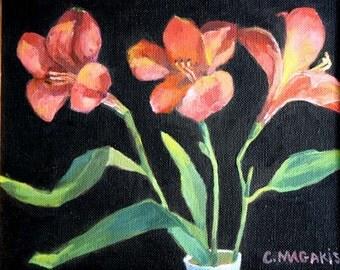 Vintage Framed Flower Oil Painting