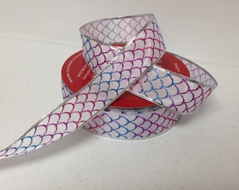 """10 yards of 1.5"""" Wired Glitter scale patterned ribbon"""