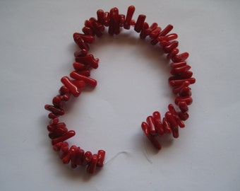 Red Coral Stick Beads