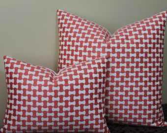 Schumacher Nolita Embroidery in Coral - Lumbar Sizes or Square Sizes - Decorative Designer Pillow Cover