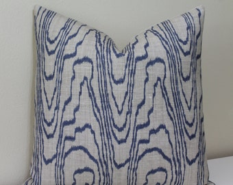 "Kelly Wearstler for Lee Jofa - Groundworks - Agate Print - Slate Blue/Linen - 16"" - 24"" and Lumbar Decorative Designer Pillow Cover"