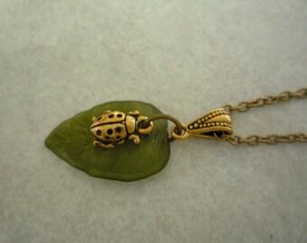 Lady Bug on Green Leaf Necklace