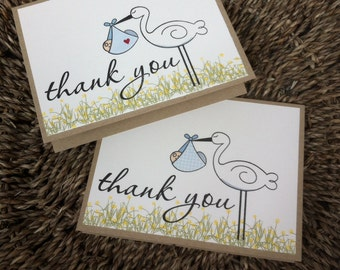 Thank You Cards -Baby Boy (set of 8) - Hand Stamped
